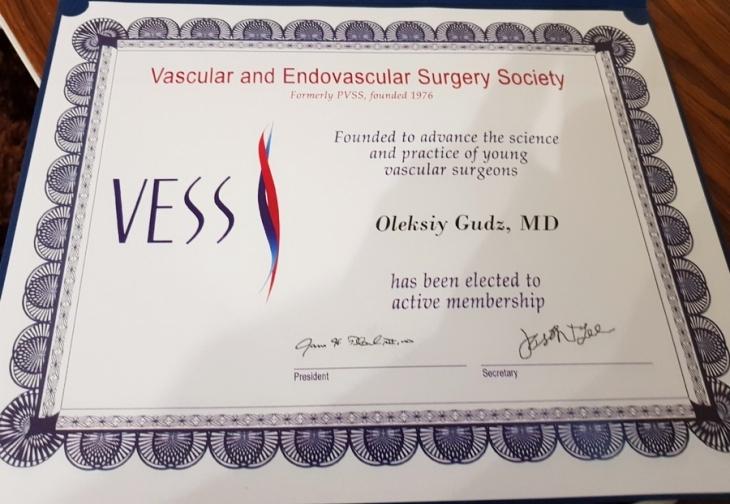 Франківського медика прийняли до престижного Товариства судинної та ендоваскулярної хірургії США 1