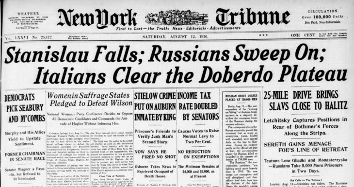 Повідомлення про взяття Станиславова в газеті Нью-Йорк Трибюн.