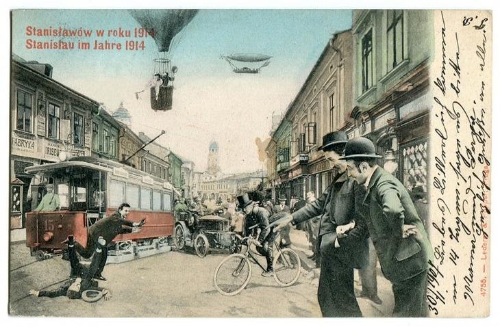 Поштівка Станиславів у 1914 р.