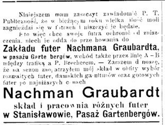 В 1908 р. у крамниці Ґраубардта сталася велика неприємність. Невідомий  злочинець розбив вітрину і вкрав коштовне хутро білого вовка 24761852ac3ed
