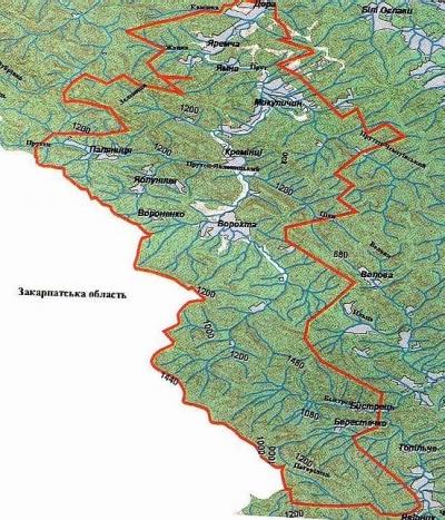 Карта Карпатського НПП.