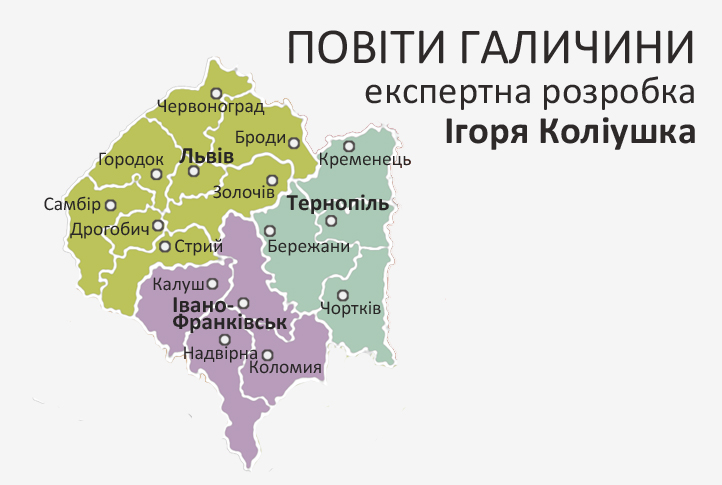 Галичину в складі України вже поділили на повіти. Карта 2
