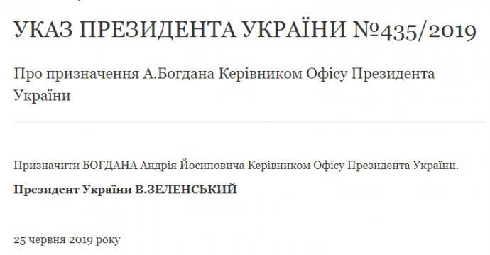 Зеленський звільнив Богдана з посади глави АП і призначив керівником Офісу президента 1