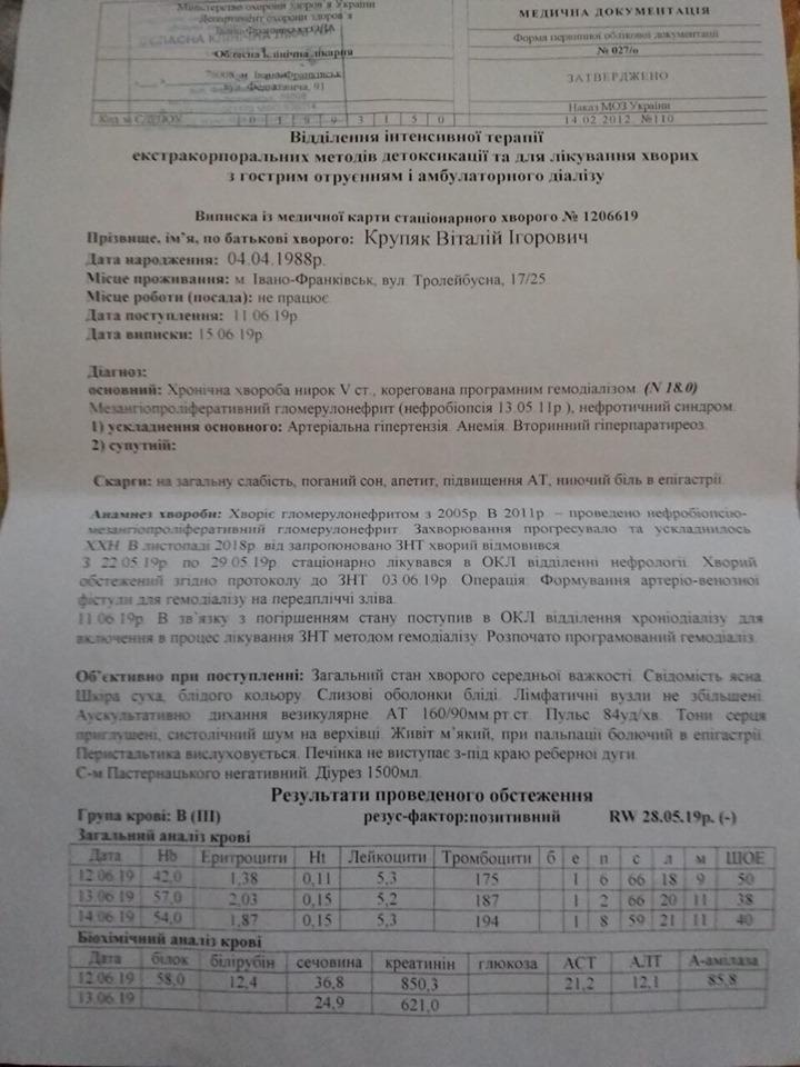 Франківець Віталій Круп'як, в якого відмовляють нирки, потребує допомоги 2