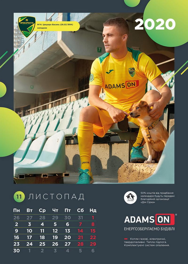 Щоб допомогти песикам і котикам, у Франківську видали календар з зірками місцевого футболу 20