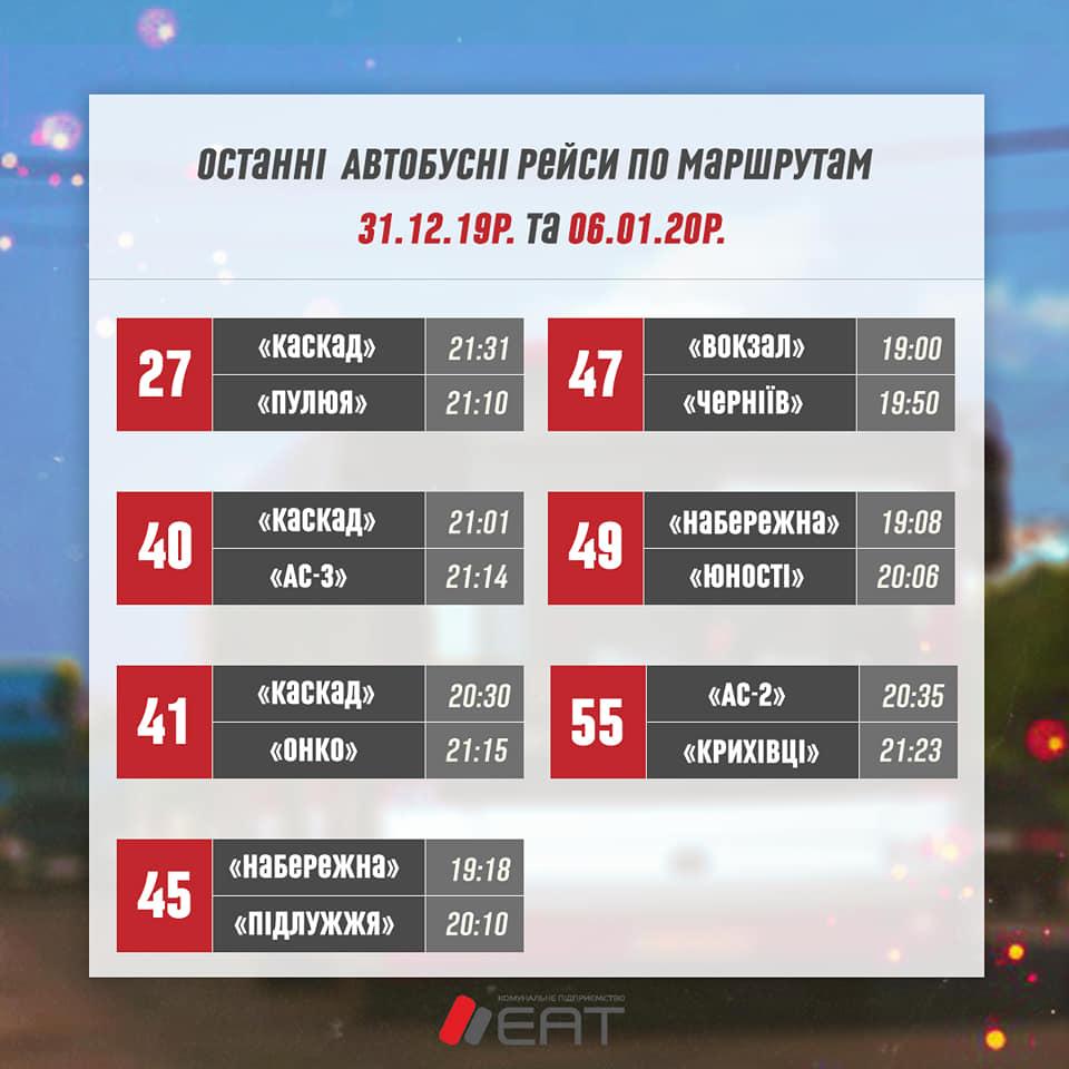 ЕАТ оприлюднив різдвяний графік руху тролейбусів і автобусів 4