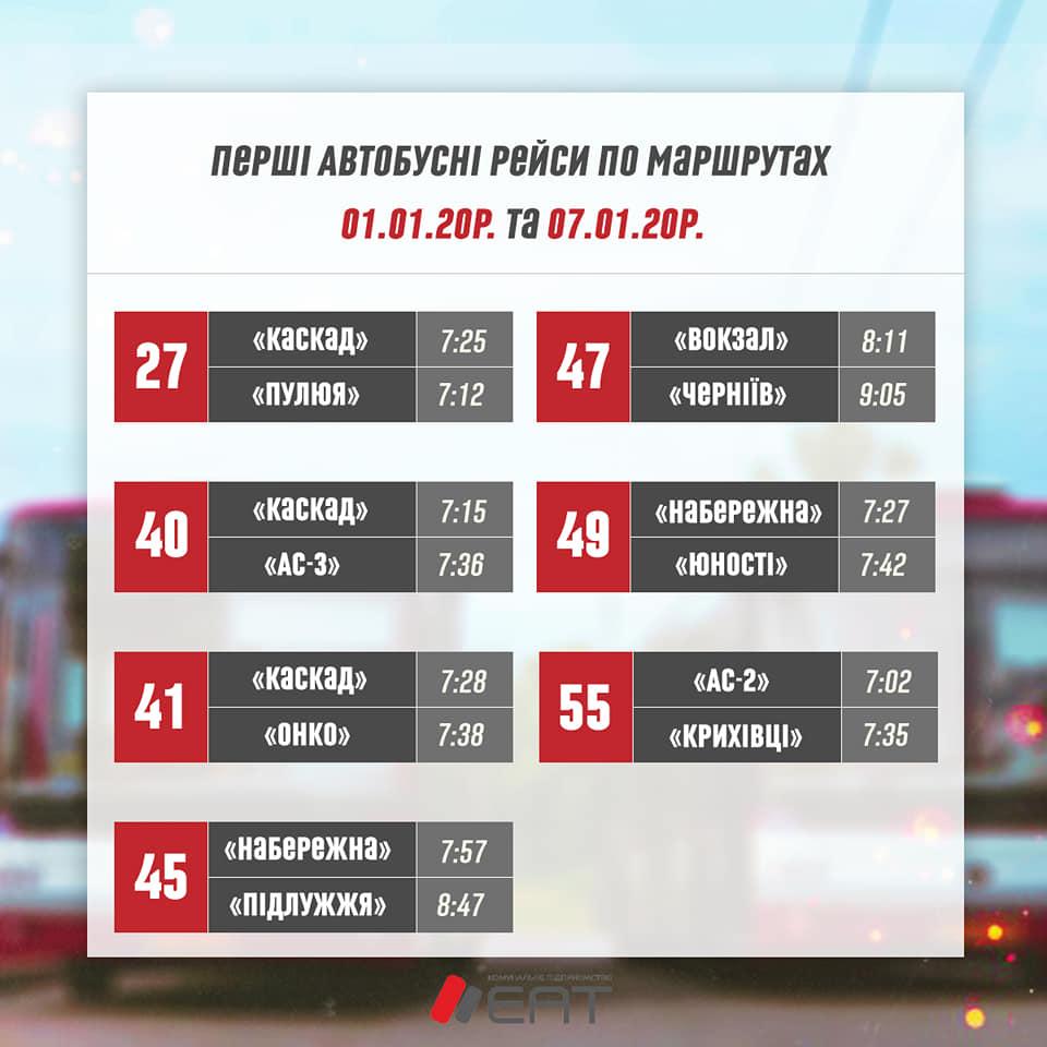 ЕАТ оприлюднив різдвяний графік руху тролейбусів і автобусів 8
