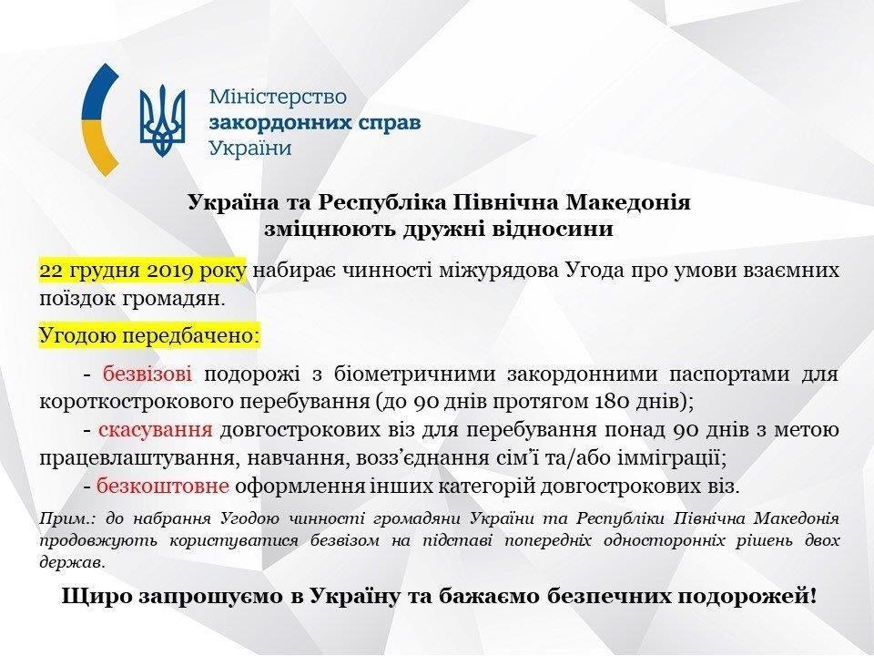 Почав діяти безвіз між Україною та Північною Македонією 2