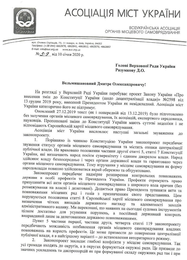 Асоціація міст України закликає Парламент відхилити проєкт змін до Конституції щодо децентралізації 2