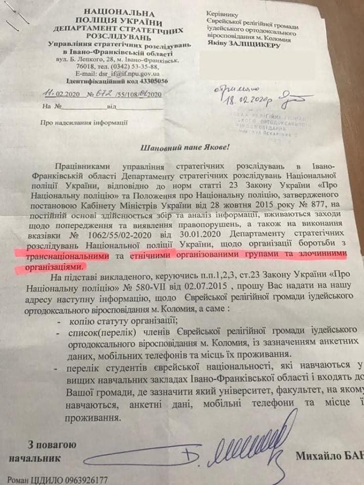 Поліція вимагає від єврейської громади Коломиї список з адресами і телефонами 1