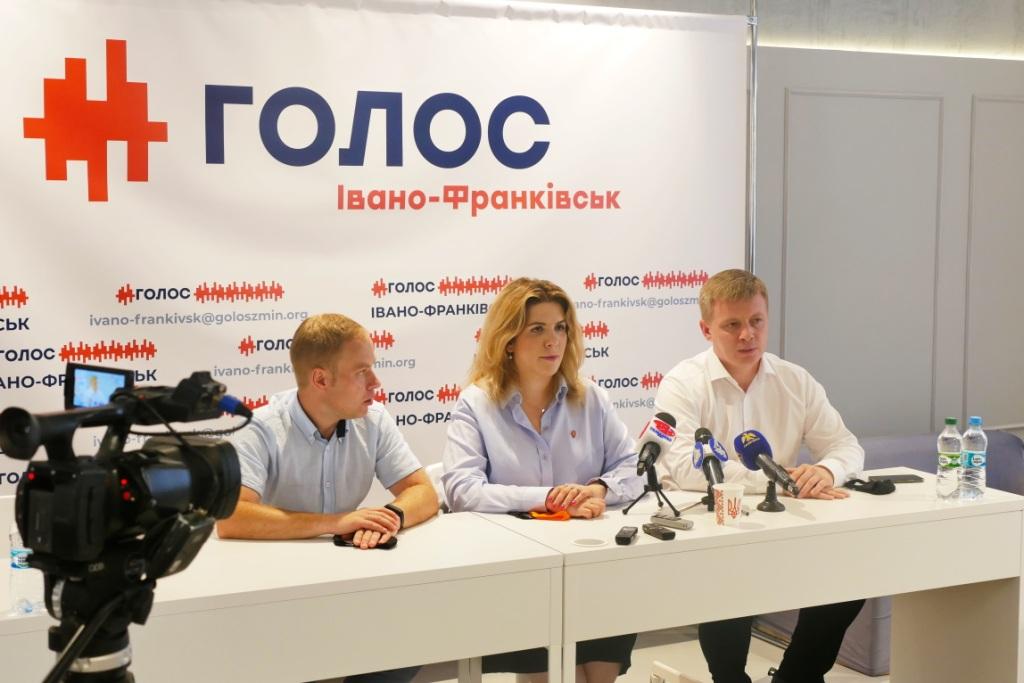 Володимир Тищенко з Кірою Рудик і Ярославом Юрчишиним у Франківську