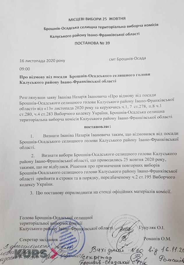 Назарій Іванів відмовився від посади голови Брошнів-Осадської ОТГ 1