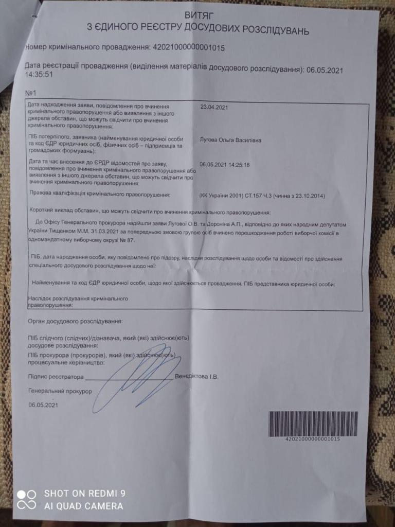 """Нардеп Тищенко заробив кримінальне провадження за """"шоу"""" на 87 окрузі 1"""